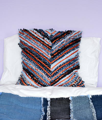 DIY Chevron Denim Pillow