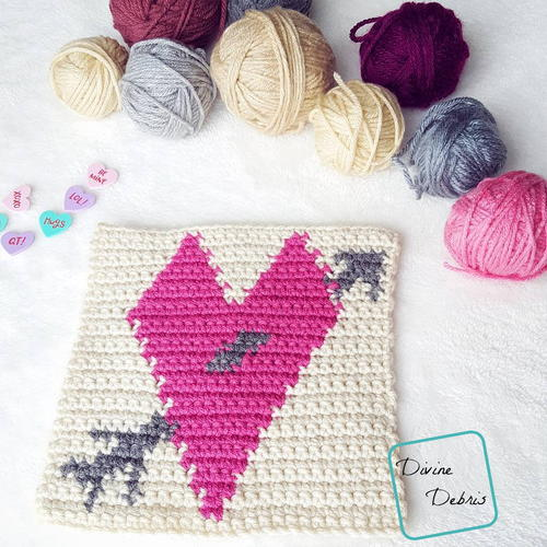 "8"" Tapestry Heart Afghan Square"