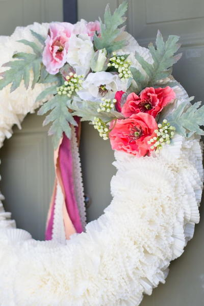 Faux Flower Cupcake Liner Wreath