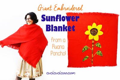 Giant Embroidered Sunflower Blanket
