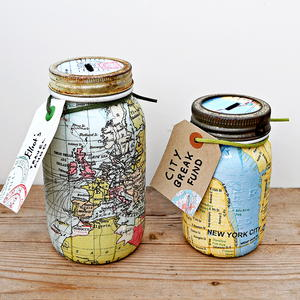Repurposed Map Mason Jar Banks