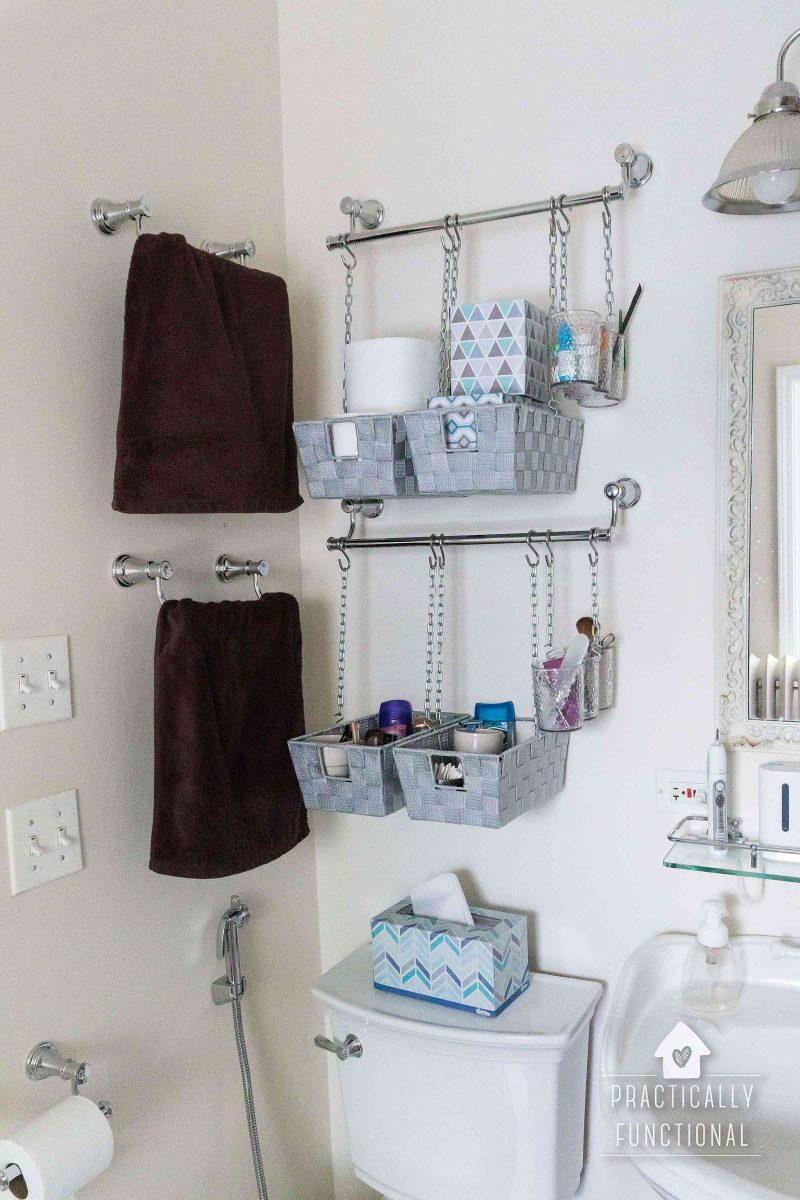 Hanging Baskets Bathroom Organization