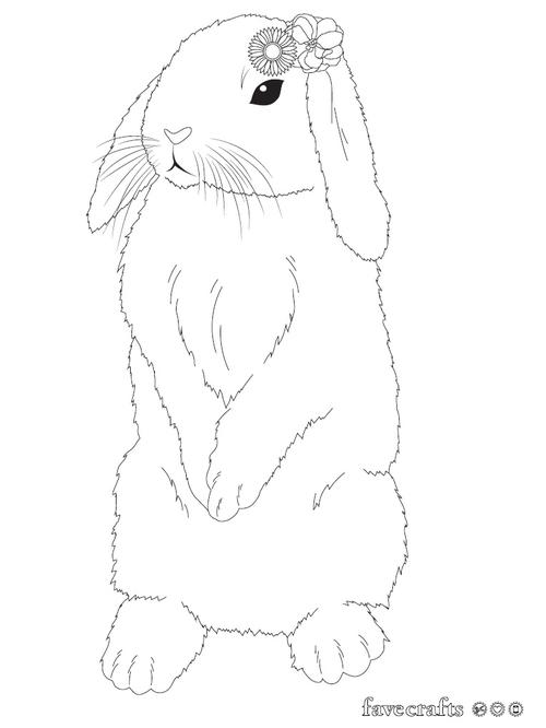 Flower Bunny Coloring Page