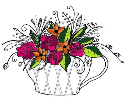 Summer in a Teacup Adult Coloring Page