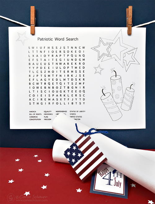 Patriotic Word Search and Coloring