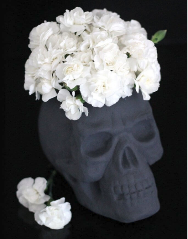 DIY Foam Skull Flower Arrangement