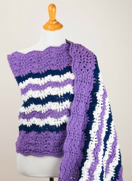 Purple Printable Crochet Prayer Shawl Pattern