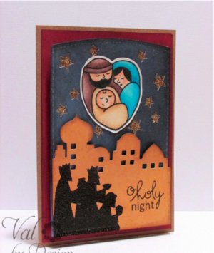 Holy Night Christmas Card Stamps Craft