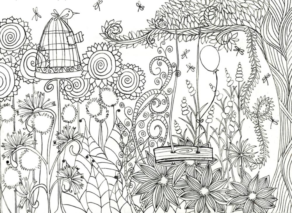 Magical Flower Garden Coloring Page FaveCrafts.com