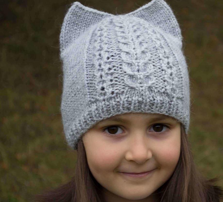 Kitty Ear Kid's Hat Pattern | AllFreeKnitting.com