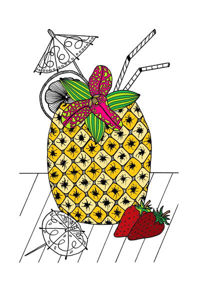 Tropical Island Cocktail Coloring Page
