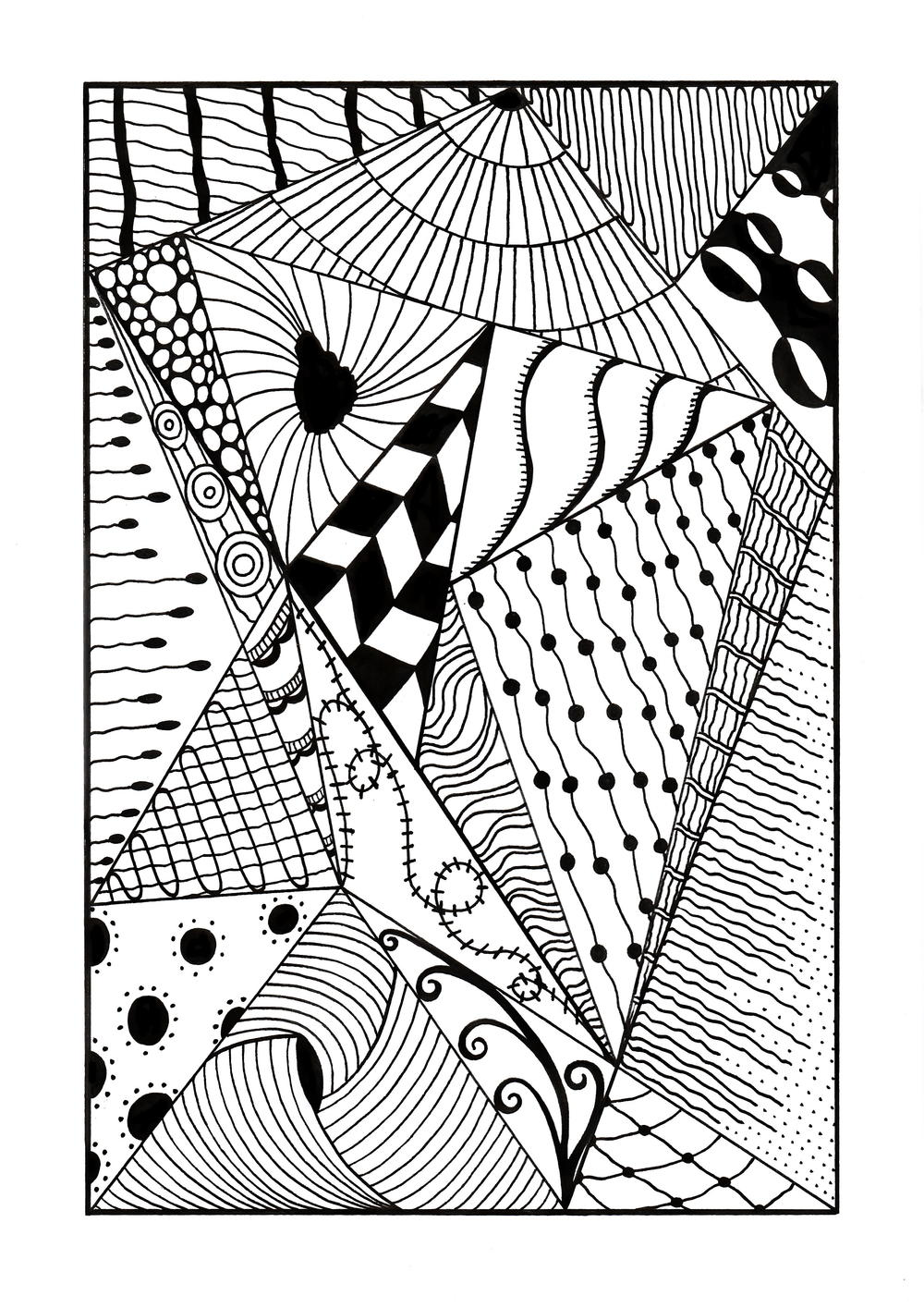 Trippy Zentangle Triangles Adult Coloring Page ...