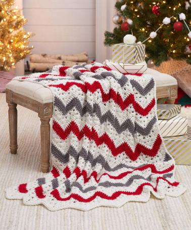Holiday Ripple Throw Crochet Pattern