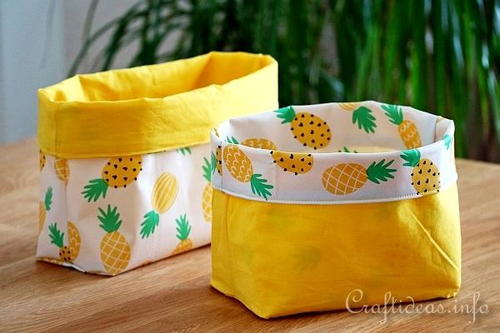Upcycled Tablecloths Into Baskets