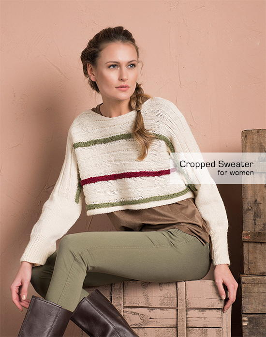 Easy Cropped Sweater Knitting Pattern Allfreeknitting Com