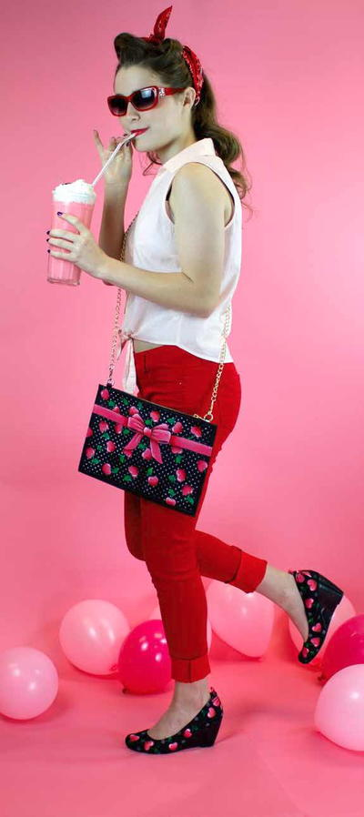 Sweetheart Cherries Heels  Purse