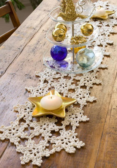 Crocheted Snowflake Table Runner