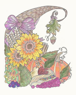 Bountiful Cornucopia Coloring Page