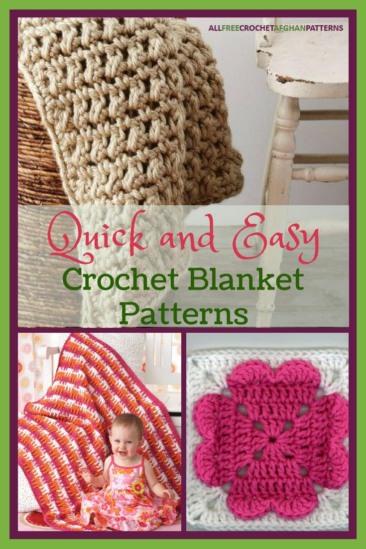 33 Quick And Easy Crochet Blanket Patterns Allfreecrochetafghanpatterns Com