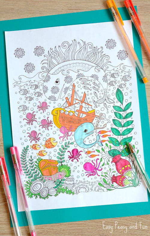 Vividly Intricate Ocean Coloring Page