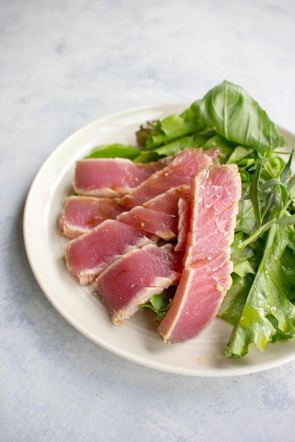 Herb Salad with Thyme-Crusted Tuna