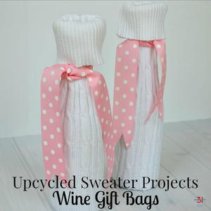 Upcycled Sweater Wine Gift Bag