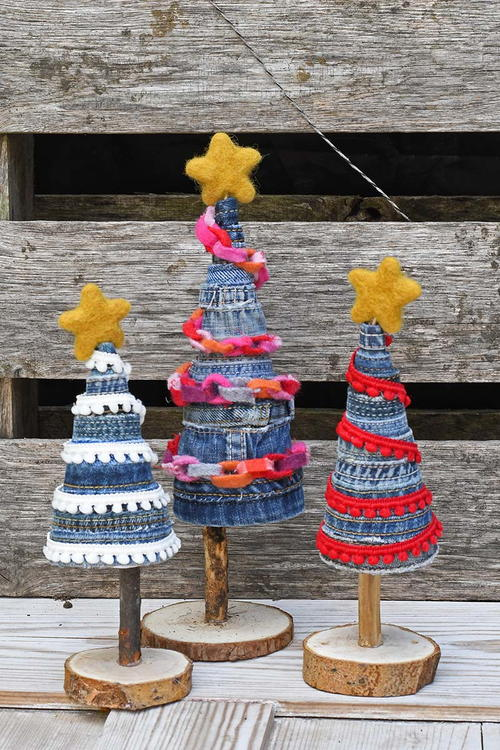 Upcycled Denim Christmas Trees