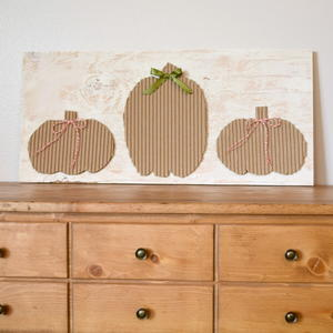 DIY Cardboard Pumpkins Wood Sign