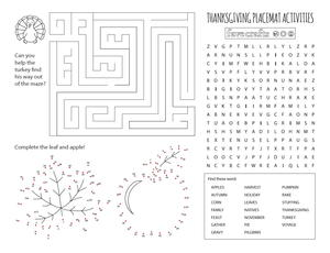 Printable Activity Placemats for Thanksgiving