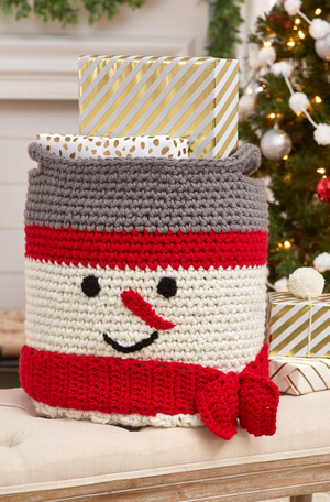 Happy Snowman Crochet Basket Pattern