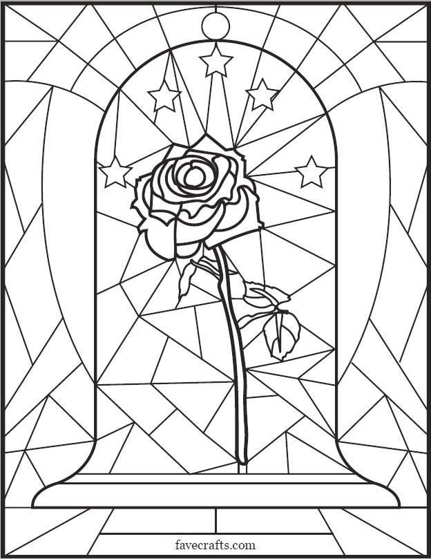 Stained Glass Rose Coloring Page | FaveCrafts.com