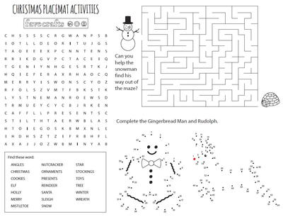 Free Printable Christmas Coloring Placemats