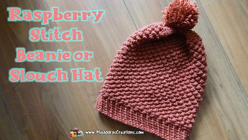 Raspberry Stitch Slouch Hat