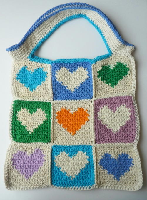 Hearts of Love Crochet Tote