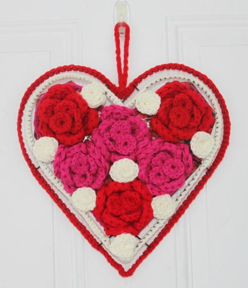 Crochet Rose Heart Valentine's Wreath