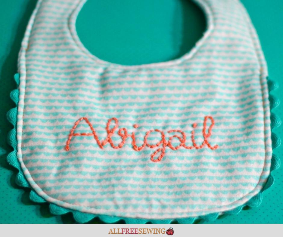 Elegantly Embroidered Baby Bib Sewing Pattern
