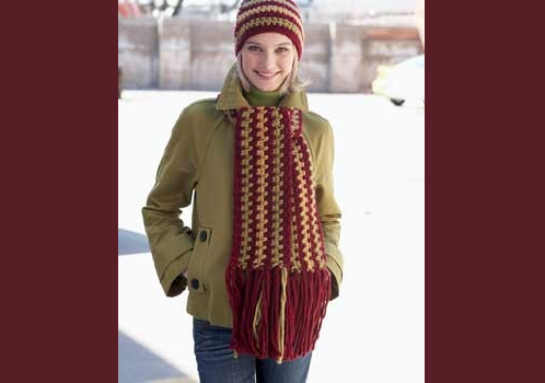 Crochet Scarf and Roving Hat Set: