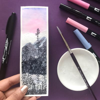 Watercolor Landscape Bookmark