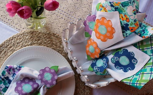 Spring Bloom Napkins and Napkin Rings