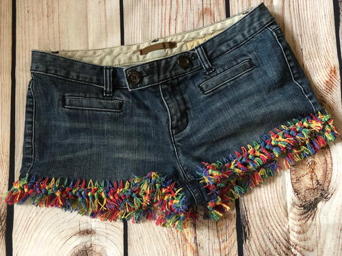 DIY Upcycled Crochet Jean Shorts