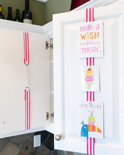 Pink Stripes Birthday Card Display