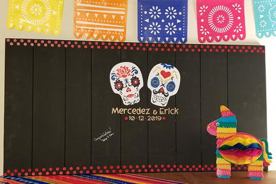 Day of the Dead Wedding Guest Book Alternative Wall Art