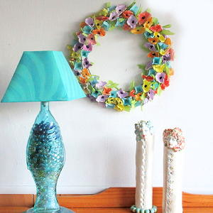 Repurposed Plastic Egg Carton Floral Wreath