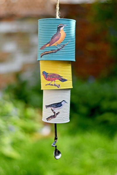 Charming Recycled Songbird Tin Can Wind Chime