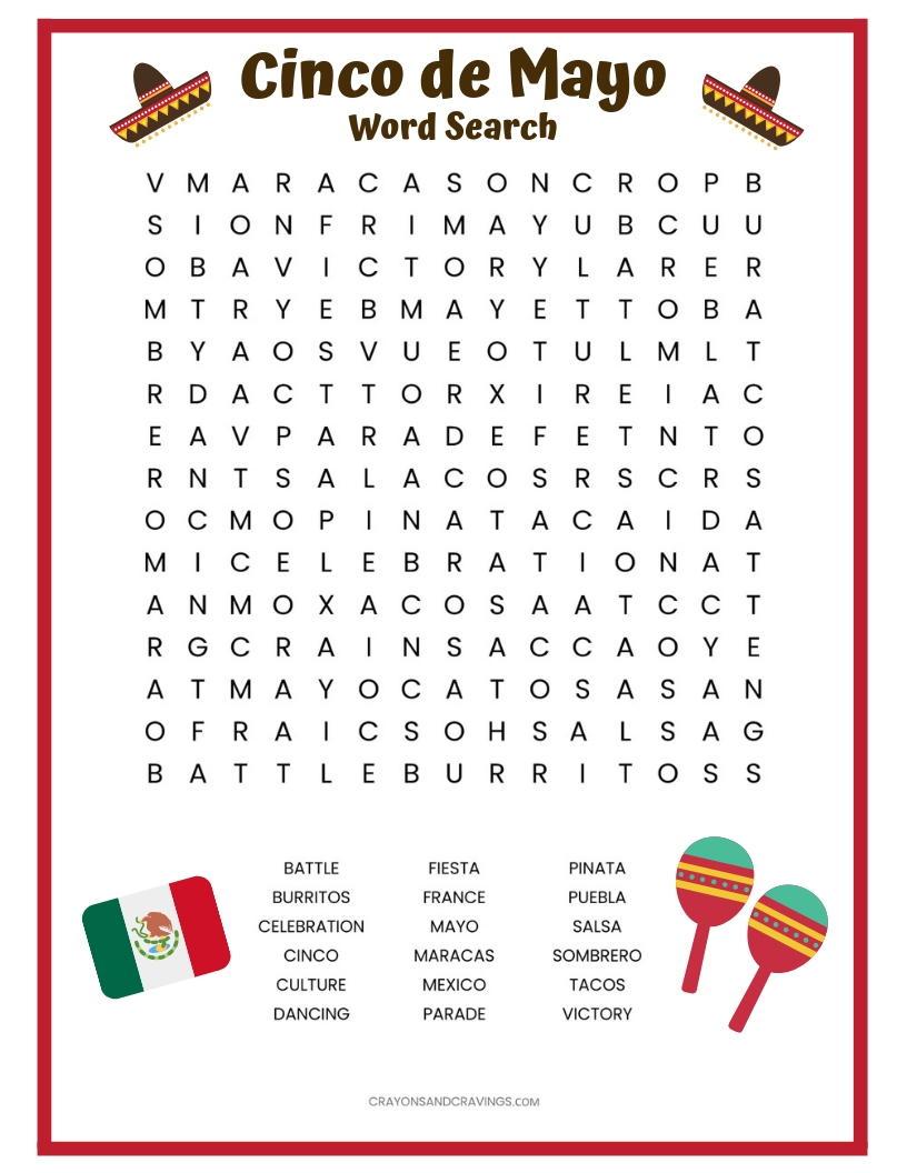 Cinco De Mayo Word Search Free Printable Allfreepapercrafts Com