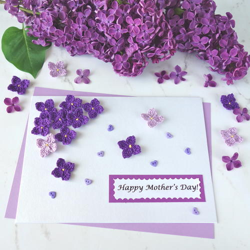 Crochet Lilac Flowers for a Handmade Mothers Day Card