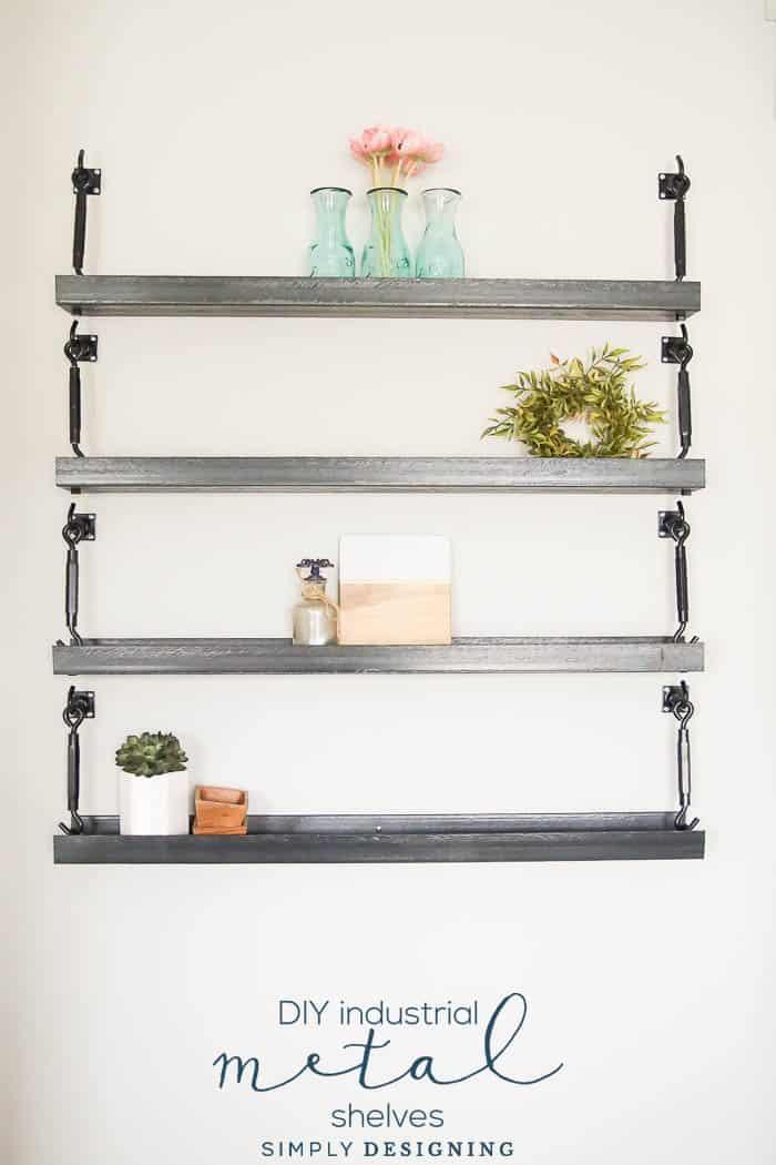 Shabby Chic DIY Metal Shelves | DIYIdeaCenter.com