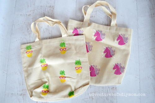 Easy Stenciled Canvas Bags