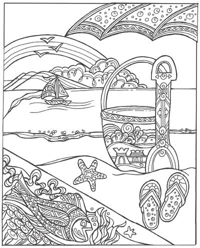 Sand Bucket and Shovel Coloring Page