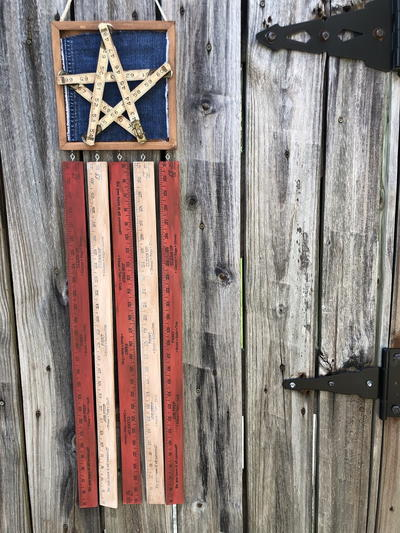 Vintage Ruler American Flag Door Hanger